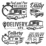 Set of delivery truck for emblems and logo. Black Royalty Free Stock Photos