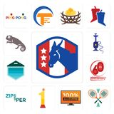 Set of democratic party, badminton, 100 guarantee, no.1, zipper, 60th anniversary, garage door, shisha, chameleon icons. Set Of 13 simple editable icons such as Royalty Free Stock Photos