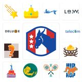 Set of democratic party, hip hop, badminton, welder, 1st birthday, bird nest, chess knight, telecom, deluxe icons. Set Of 13 simple editable icons such as Stock Photo