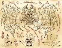 Set with demon, gothic symbols and mystic geometry symbols against texture background stock illustration