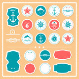 Set denne i nautyczne etykietki, odznaki Fotografia Stock