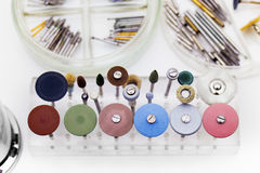 Set of dental burs and grinding wheels Stock Photos