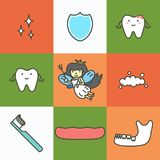 Set of dental care, element for tooth concept vector illustration