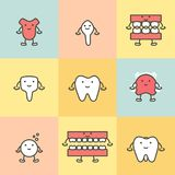 Set of dental care, element for tooth concept stock illustration