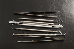 Set of dental care instruments . Set of metal medical equipment tools for teeth dental care royalty free stock photography