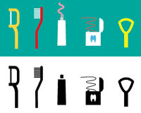 Set of Dental care tool flat icon, vector Stock Photo
