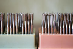 Set of dental drills closeup, selective focus Royalty Free Stock Photography