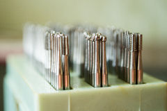 Set of dental drills closeup, selective focus Royalty Free Stock Photos