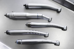 Set of dental handpieces without burs flat lay Stock Photo