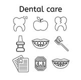 Set of dental in modern thin line style. High quality black outline teeth symbols for web site design and mobile apps. Simple dent. Set of dental care outline Stock Photos