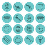 Set of dental in modern thin line style. High quality black outline teeth symbols for web site design and mobile apps. Simple dent. Set of dental outline  icons Royalty Free Stock Photography