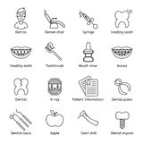 Set of dental in modern thin line style. High quality black outline teeth symbols for web site design and mobile apps. Simple dent. Set of dental outline  icons Stock Images