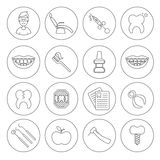 Set of dental in modern thin line style. High quality black outline teeth symbols for web site design and mobile apps. Simple dent. Set of dental outline  icons Royalty Free Stock Photos