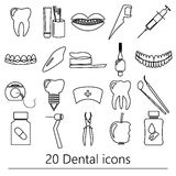 Set of dental theme black outline icons eps10 Royalty Free Stock Image