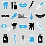 Set of dental theme blue stickers Stock Photo