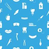 Set of dental theme icons blue seamless pattern Stock Photos