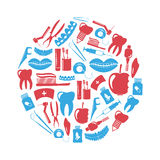 Set of dental theme red and blue icons in circle Stock Photography