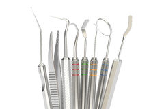 Set of dental tools, 3D rendering Stock Images