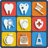 Set of 9 dental web and mobile icons. Vector. Royalty Free Stock Image