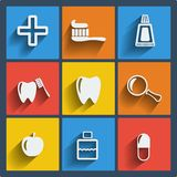 Set of 9 dental web and mobile icons. Vector. Royalty Free Stock Images
