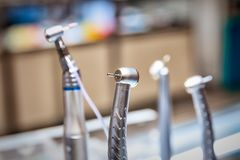 Set of dentist drills. Close up view royalty free stock photo