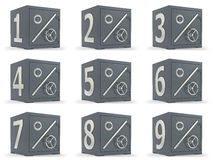 Set of deposit bank safes. Deposit bank safe with title 1-9 percents Stock Image