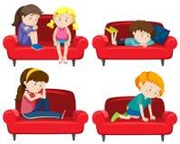 Set of depressed kids on couch. Illustration vector illustration