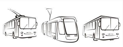 Set der öffentlichen Transportmittel Symbole Stockfoto