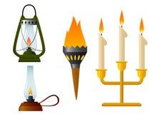 Set der alten Lampe der Flamme mit brennender Leuchte Stockbild