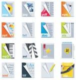 Set der Dateien und der Faltblattikonen lizenzfreie abbildung