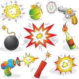 Set der Explosivstoffe und der Waffe Stockfotografie