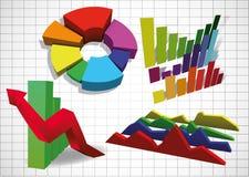 Set der Geschäftsdiagramme Stockbilder
