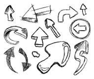Set der handgemachten Skizze der Pfeile - Set 2 Stockfotografie