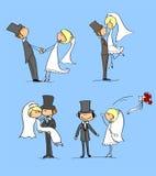 Set der Hochzeitsabbildungen, -braut und -bräutigams Lizenzfreie Stockfotos