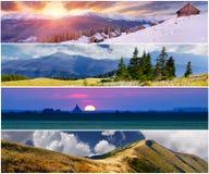 Set der Landschaft mit 4 Jahreszeiten Stockfotografie