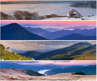 Set der Landschaft mit 4 Jahreszeiten Lizenzfreies Stockbild