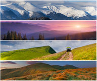 Set der Landschaft mit 4 Jahreszeiten Lizenzfreies Stockfoto