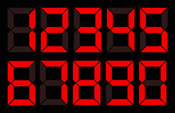 Set der roten digitalen Zahl lizenzfreie abbildung