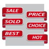Set der roten Verkaufsfarbbandfahne Stockfotos