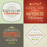 Set der Weinlese redete Weihnachts- und des neuen Jahreskarten an Lizenzfreies Stockbild
