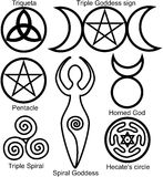 Set der Wiccan Symbole Stockfotos