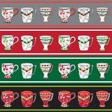 Set der Zeile Muster mit Cup Stockbild