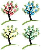 Set des Baums stilisiert mit Blumen Lizenzfreie Stockfotos