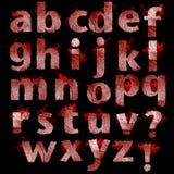 Set des blutigen Fingerabdruckes bezeichnet die getrennte Gestaltungsarbeit mit Buchstaben Stockbilder
