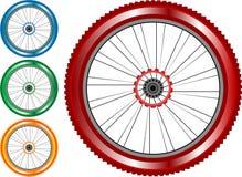 Set des farbigen Fahrradrades mit Gummireifenspeichen Stockfoto
