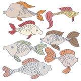 Set des Fischzeichnens Stockbilder
