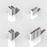 Set des Gebäudes 3D stockbilder