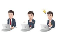 Set des Geschäftsmannes an Laptop-Computer 2 Stockbilder
