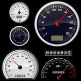 Set des Geschwindigkeitsmesservektors Stockfoto