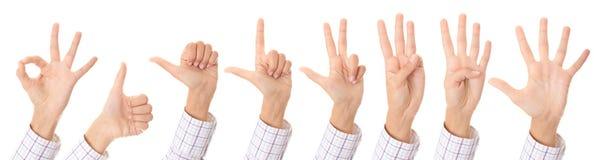 Set des Gestikulierens der Hände Stockfotos